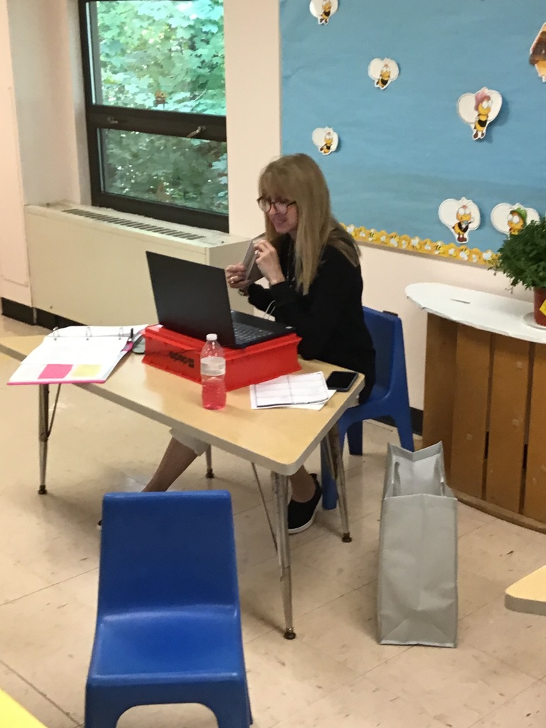 Miss Debbie teaches to her remote classroom