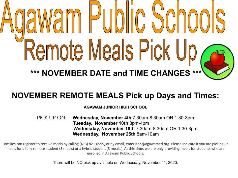 November Remote Meals Time/Day Changes