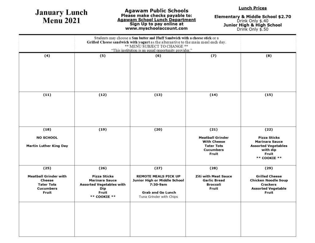 Updated January Lunch Menu-All Schools